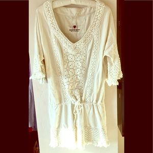 Twisted Heart ivory Crochet Tunic M